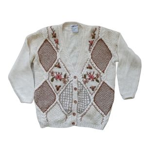 Vintage Knit Cardigan Argyle Floral Crochet
